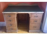 Antique Pine Twin Pedestal Desk