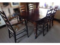 Victorian Oak wind-up Dining Table - 4 Edwardian Ladder Back Dining Chairs + Carver Chair