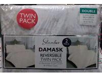 Damask Twin Pack Double Duvet Set