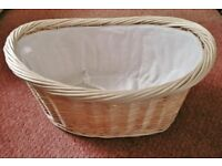 Pale Brown with Cream Lining Large Oval Wicker Laundry / Washing / Clothes / Storage Basket