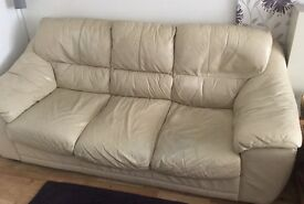 Two Sofas LEATHER 1x 3 seater, 1x 2seater, and matching pouffe