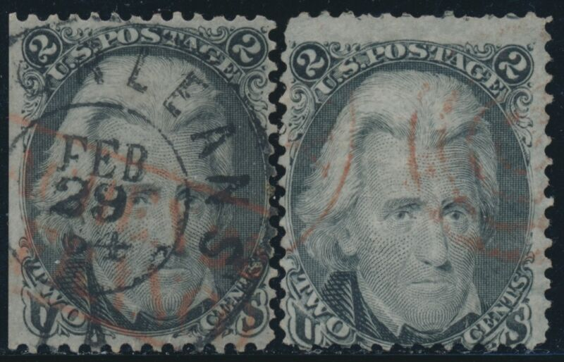 #73 F-vf Used (2) Different With Red Brown Cancel Cv $230 Br7843