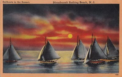 Postcard Sailboats Sunsets Metedeconk Bathing Beach NJ