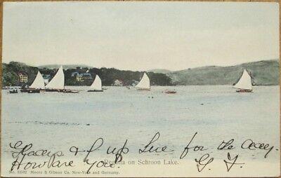 Schroon Lake, NY 1905 Postcard: Regatta, Sailboats - New York