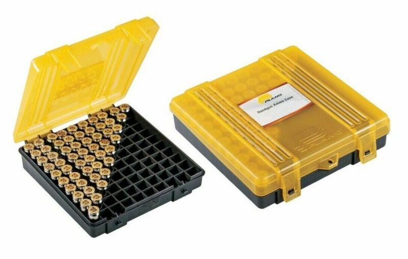 Plano 100 Count Handgun Ammo Hard Case Yellow Ammunition Box 9mm, .38, .44, .45