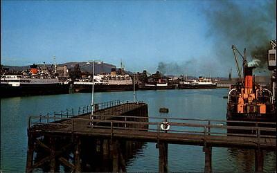 Belfast Ireland postcard ~1950/60 Port Hafen view the Queen's bridge Schiffe