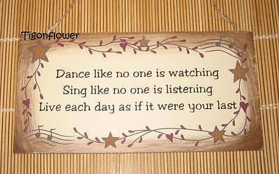 Wood Sign Plaque Decor Country Primitive Dance Sing Live Music