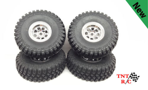 Chrome Bead Lock Rims with 1/18, 1/24 scale r/c rock crawler T-Finder tires F/S!