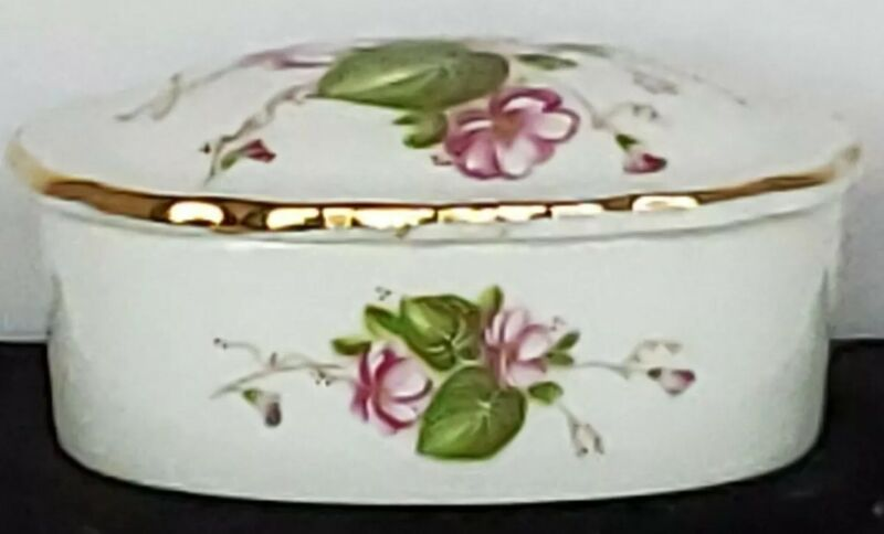 Vintage Lefton China Trinket Box With Dainty Pink Flowers