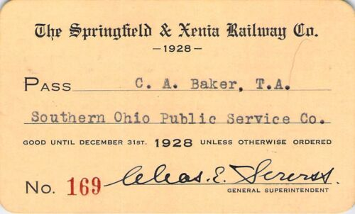 1928 XENIA SPRINGFIELD  LOW # 169 RAILROAD RAILWAY PASS RR RY