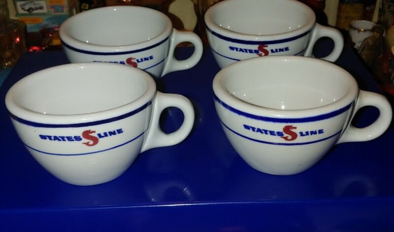 4 Vintage States Line Steamship Co. Advertising Coffee Cup