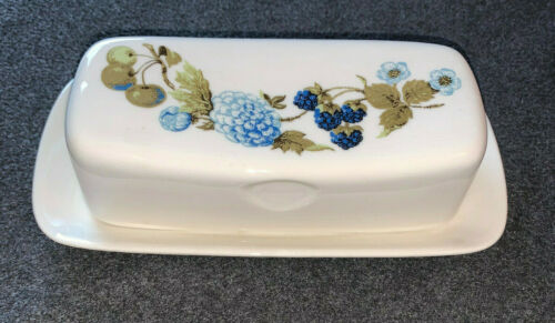 Iroquois Ben Siebel Blue Vineyard Covered Butter Dish - Syracuse China
