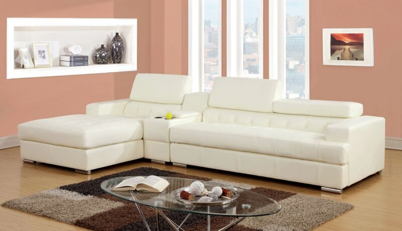 Contemporary Shape Living Room Sectional Sofa Bonded White Leather Chrome Legs