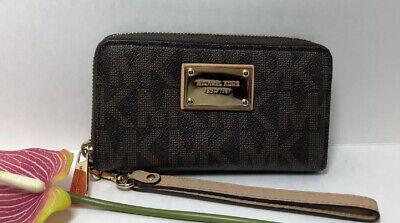 MICHAEL KORS Logo JET SET Tech Cellphone Wallet Clutch Zip Wristlet, Pristine.