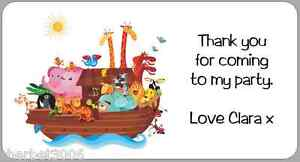 24 x Personalised Stickers Noah's Ark Labels Thank You Party