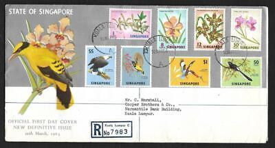 SINGAPORE, 1963 DEFINS 8 VALUES ON ILLUSTRATED FDC