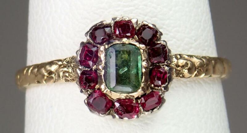 Dainty Antique Georgian 18K Gold Ruby Emerald Floral Cluster Ring Heart Box 6.75