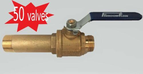 Lot of 50 3/4 inch Full Port Brass Water Heater Drain Valves