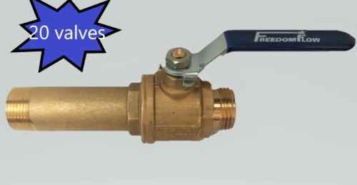 Lot of 20 Brass Full-Port Water Heater Drain Valves
