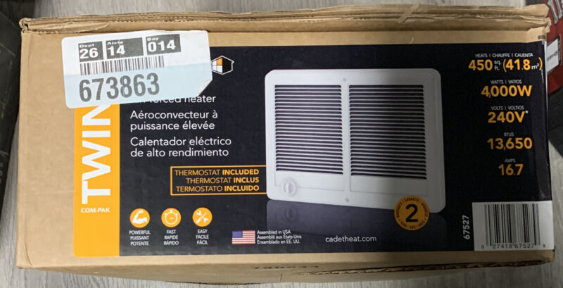 Cadet 240V, 4000W, White Com Pak Twin,Heater with Thermostat