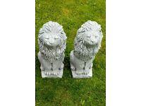 Pair of lion garden statues