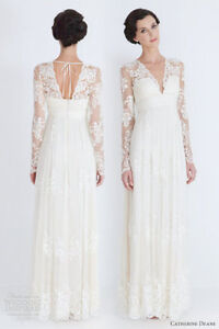 Most sexy V Neck Lace Long Sleeve Wedding Dress/Bridal Gown evening dress Custom