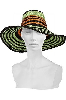 MISSONI Multi-Color, One Size, Wide Brim Striped Woven Sun Hat New With Tags