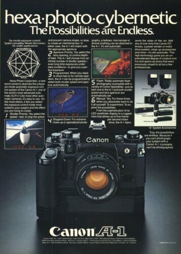 Canon A-1 Color AD 1980 Original Vintage Print Advertisement