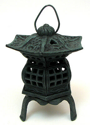 Cast Iron- Footed Pagoda Lantern Candle Holder Bronze Patina Indoor or Patio