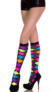 NEW CUTE ACRYLIC NEON ARGYLE KNEE HIGH SOCKS