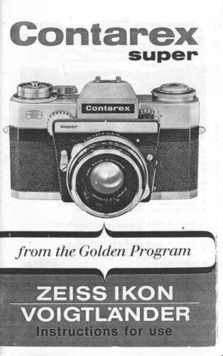 Zeiss Ikon Contarex Super Instruction Manual photocopy