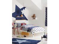 John Lewis Darton Single Bed Frame,White/Oak with Silentnight 2000 MIRAPOCKET Genius Mattress