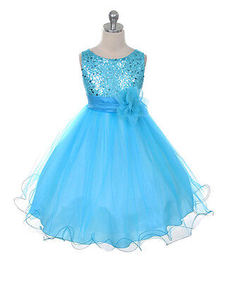 Aqua Flower Girl Dress (New Flower Girl Sequin Dress Pageant Christmas Graduation Easter Aqua Silver)