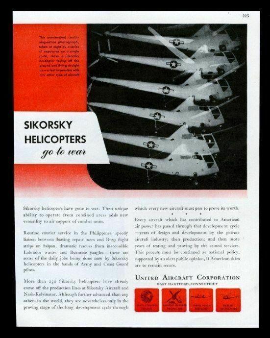 1945 Sikorsky helicopter USAF night photo vintage print ad