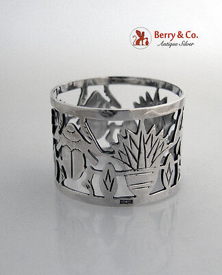 Sterling Silver Scarab Open Work Napkin Ring 1940
