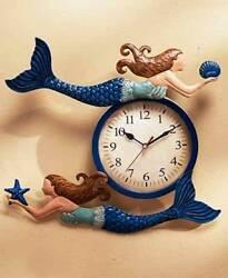 MERMAID SHAPE Metal Wall Clock. Beautiful Nautical Home Decor