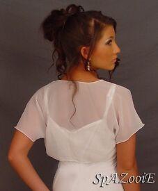 Bridal cap sleeve, sheer white, bolero top, 10.