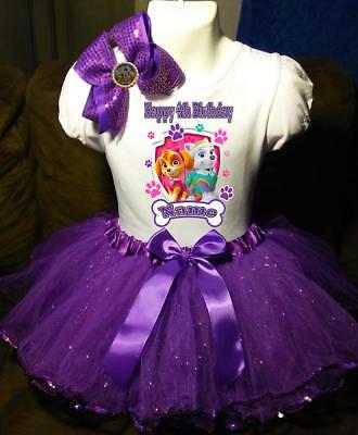 Paw Patrol +NAME+Fourth 4th 4 Birthday Shirt Personalized Purple Tutu Dress](Personalized Dress)