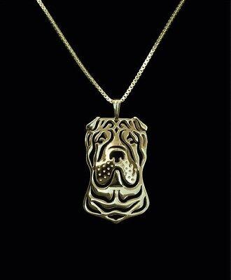 Shar Pei Dog Pendant Necklace Gold Tone ANIMAL RESCUE DONATION