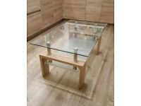 Pine, chrome and glass two tier coffee table