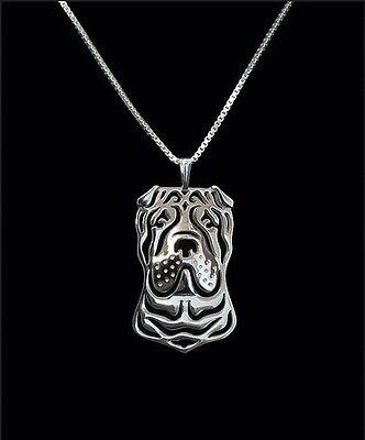 Shar Pei Dog Pendant Necklace Silver Tone ANIMAL RESCUE DONATION