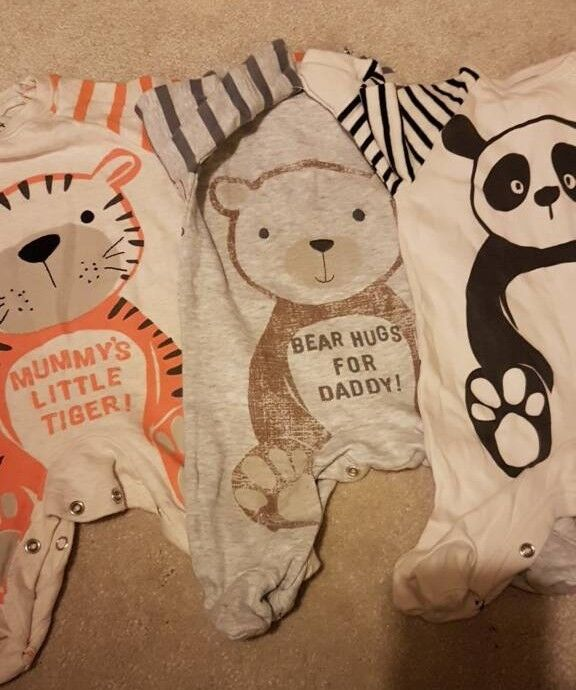3 NEXT baby sleepsuits size up to 1month