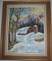 Cottage Snow Fall Oil painting hand drawn by local artist!