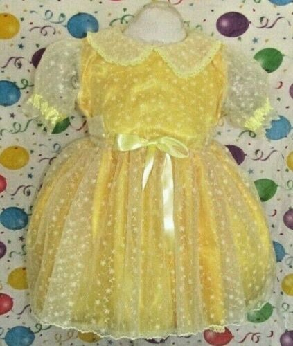 "Pretty Yellow Embroidery Adult Sissy Dress ""Besses"
