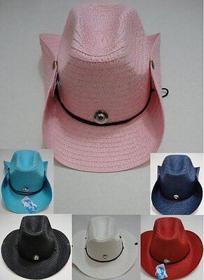 12pc Colored Straw Cowboy Hat Cowgirl Western Hats w/ Snaps BULK WHOLESALE LOT](Bulk Cowboy Hats)
