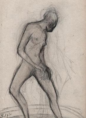 EMILE-JEAN SULPIS Pastel Drawing FEMALE NUDE c1915 ARTS & CRAFTS IMPRESSIONIST