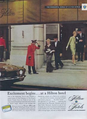 1960 Hilton Hotels Print Ad Excitement Begins   Ends New York Montreal Istanbul