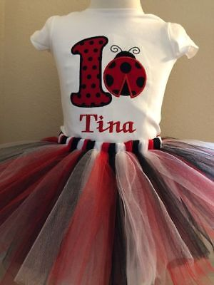 Ladybug Birthday Shirt Tutu Outfit Set Party EMBROIDERED 1st 2nd 3rd 4th 5th
