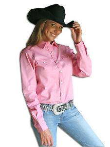 Walls Ladies Western Cotton Twill Snap Blouse Shirt Long Sleeved