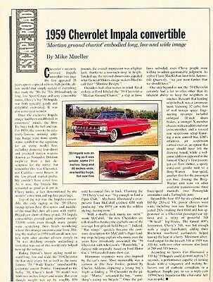 1959 Chevrolet Impala Convertible Original Car Review Print Article J611